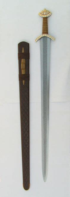 pattern welding copper viking sword pattern welded blade silver and cooper inlay