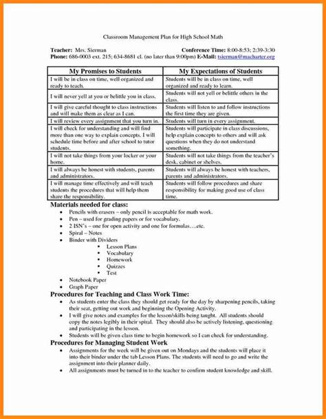 High School Classroom Management Plan 2 Entrance To The Classroom Dispensation Of Sharps And Classroom Management Plan Template 2