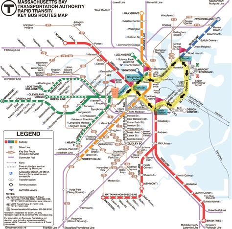boston metro map boston subway map with streets my