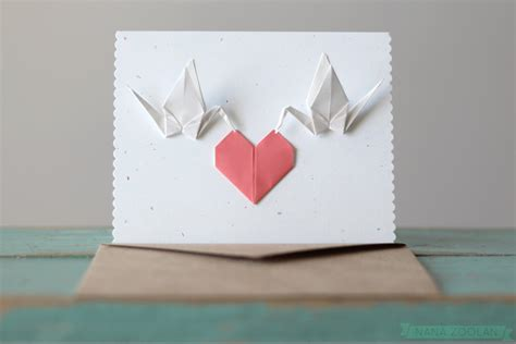 Origami Crane Card - handmade origami paper cranes card wedding