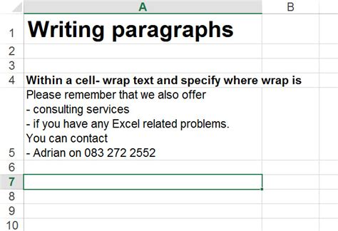 write paragraphs in excel auditexcel co za