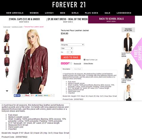 Forever 21 Description tips for better product descriptions on websites