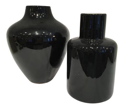black ceramic vases set of 2 chairish