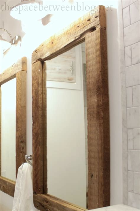 how to frame a bathroom mirror with wood ana white reclaimed wood framed mirrors featuring the
