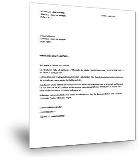 Reklamation Brief Antwort Reklamation Musterbrief Musterix
