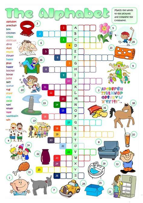 Letter Xword the alphabet crossword worksheet free esl