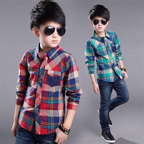 Blouse Boy 2016 boys shirts sleeve plaid boy shirt