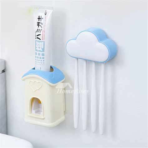 Stick On Bathroom Accessories Stick On Toothbrush Holder Cloud Shaped With Toothpaste