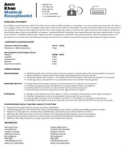 Receptionist Resume Objective by Receptionist Resume Objective 7 Exles In Word Pdf
