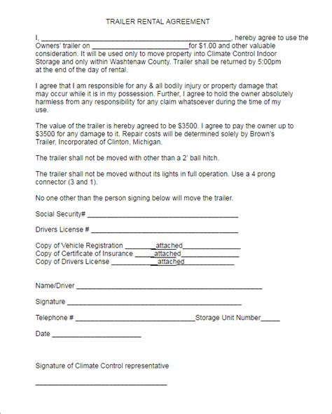 10 Rental Lease Agreement Templates Free Word Doc Formats Trailer Lease Agreement Template Free