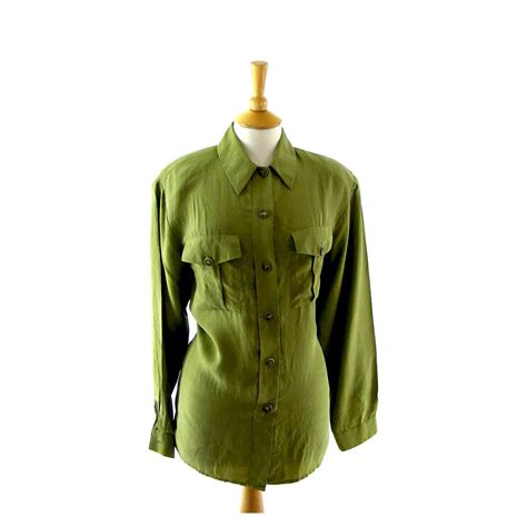 Blouse Green Lime lime green silk blouse blue 17 vintage fashion