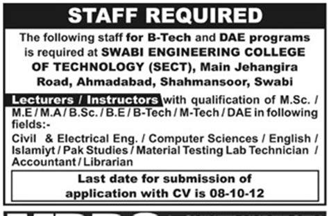 staff pattern in engineering college staff required at swabi engineering college of technology