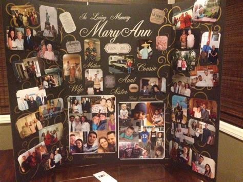 picture board ideas memory board made for great gramma s funeral service memorial picture collage for funeral