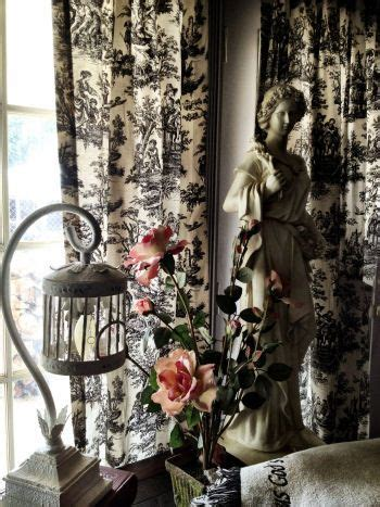 french country toile curtains      dining