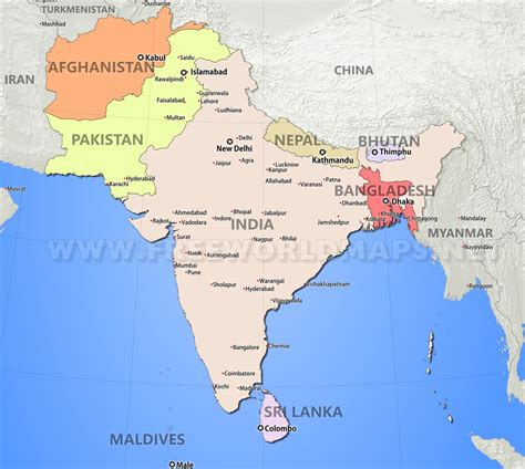 map of cities in asia south asia maps
