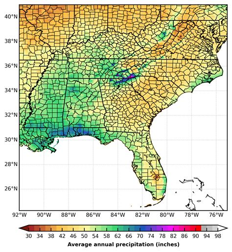 weather map of southeast united states prism precipitation maps for the southeast u s