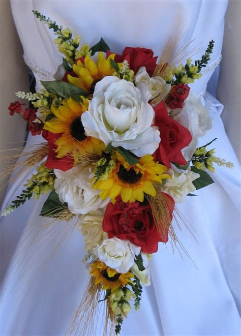 a new flowering 1000 1854442066 new wheat wedding flowers western sunflower bouquet quot country lovin quot bouquet ebay