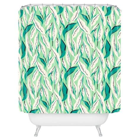 target green shower curtain leaf shower curtain green deny designs 174 target