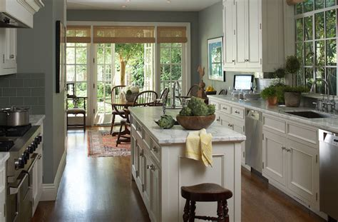 white cabinets gray walls kitchen french doors transitional kitchen
