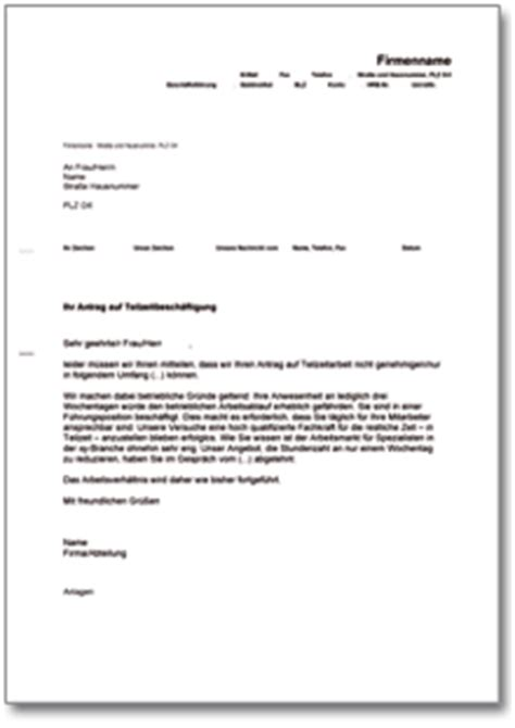 Anschreiben Gehaltserhohung Arbeitgeber Ablehnung Des Antrags Auf Teilzeitarbeit De Musterbrief