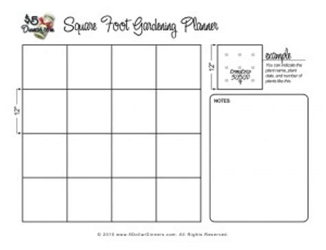 Free Gardening Planner Printables Easy Square Foot Garden Plan