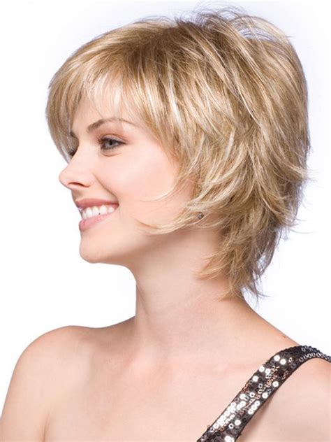 hairstyle feathered away from face short face flattering bob with feathered layers and wispy