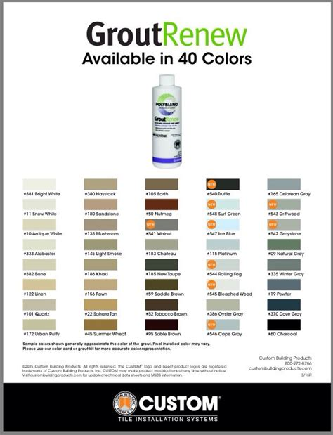 polyblend grout renew color chart 25 best ideas about grout paint on polyblend