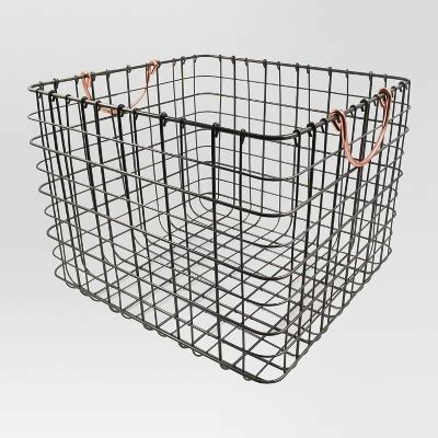 large wire crate wire large milk crate antique pewter with copper handle threshold
