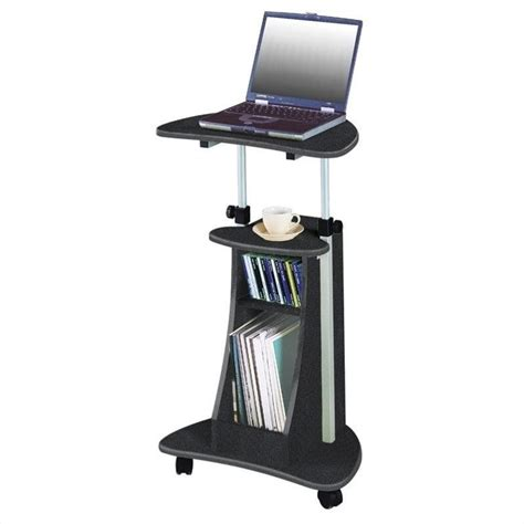 Techni Mobili Cadmus Stand Graphite Mobile Laptop Cart Mobile Standing Desk