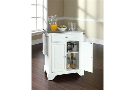 Kitchen Island Stainless Steel Lafayette Stainless Steel Top Portable Kitchen Island In White Finish By Crosley