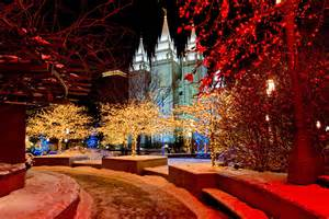 salt lake city lights salt lake city temple square lights mormon channel