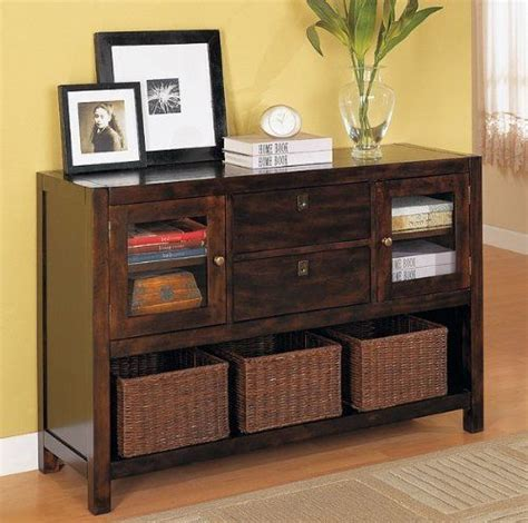 sofa table with baskets beautiful storage console sofa table w baskets by coaster