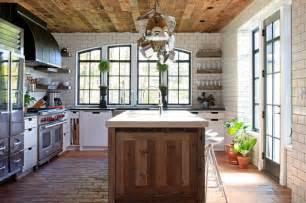 Salvaged Wood Kitchen Island european cottage kitchen contemporary kitchen