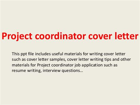 cover letter for project coordinator project coordinator cover letter