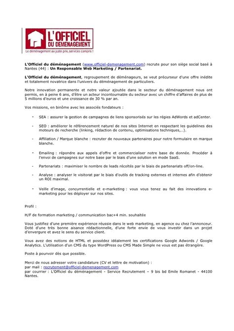 Exemple De Lettre De Motivation Webmarketing Recrutement Chef De Projet Web Marketing Partenariat