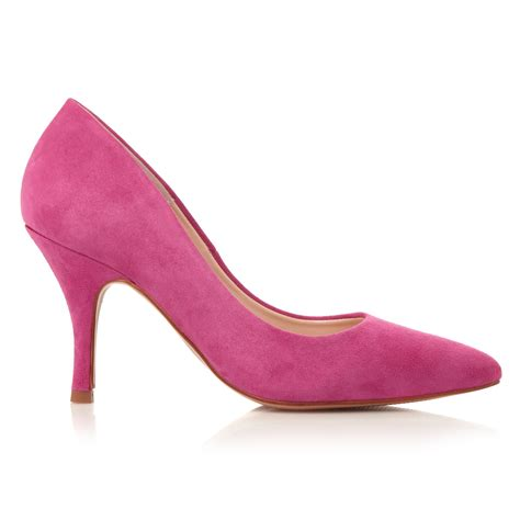 dune aviator mid heel court shoes in pink lyst