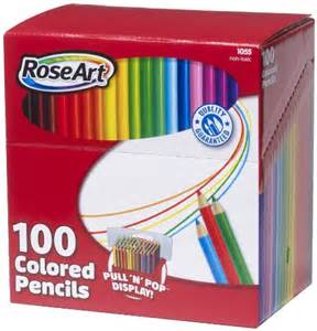 100 colored pencils roseart colored pencils 100 count assorted colors