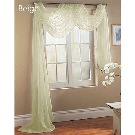 how to drape a sheer curtain over a rod sheer voile 216 quot window scarf ivory bone beige ebay