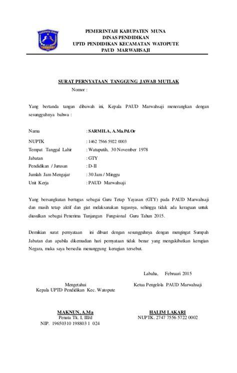 format surat pernyataan tanggung jawab surat pernyataan tanggung jawab mutlak paud marwahsaji