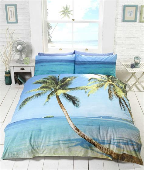 palm tree bedding tropical island palm tree bedding duvet cover single king ebay