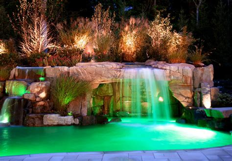 Night Lights For Bathrooms by Backyard Swimming Pool Waterfall With Color Led