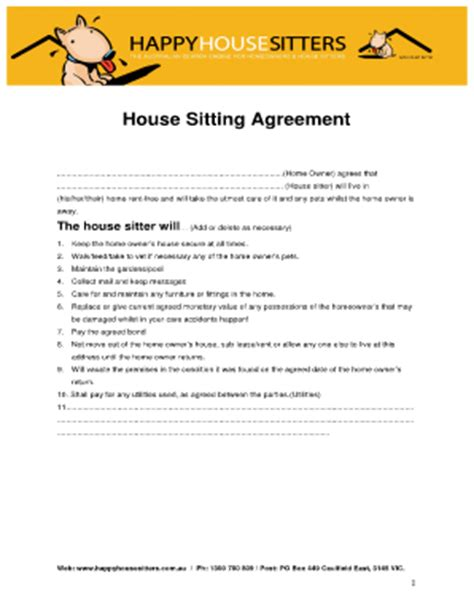 house sitting rates fillable online house sitting agreement happy house sitters fax email print pdffiller