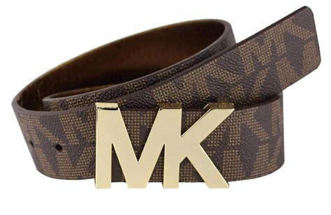 new s michael kors premium mk logo faux leather belt