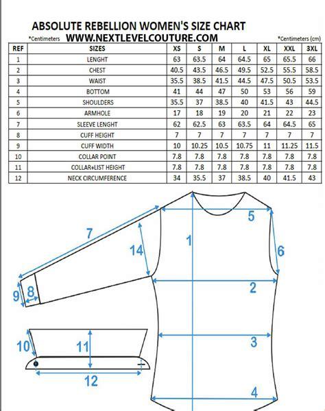pattern drafting measurement chart absolute rebellion women dress shirt measurement charts