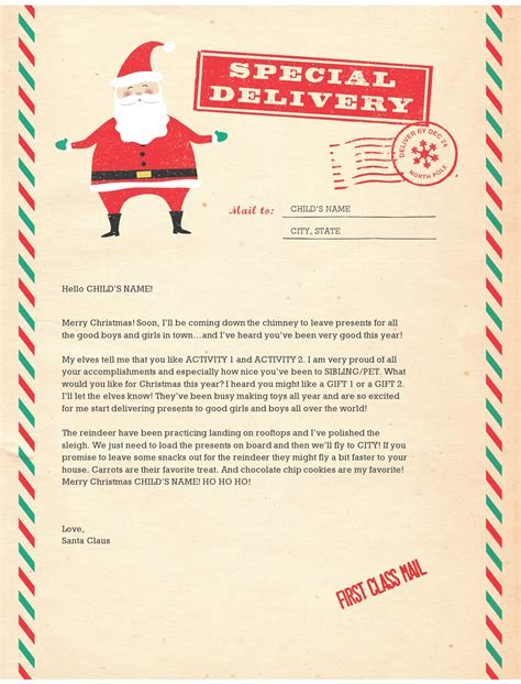 Special Delivery Santa Letter Letter Template From Santa