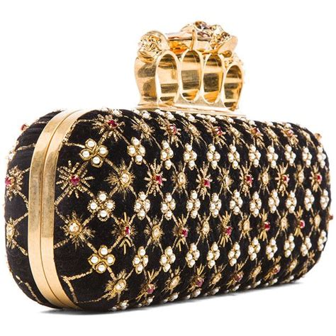 Mcqueen Safety Pin Purse by Mcqueen Embellished Knuckle Box Clutch In Multi