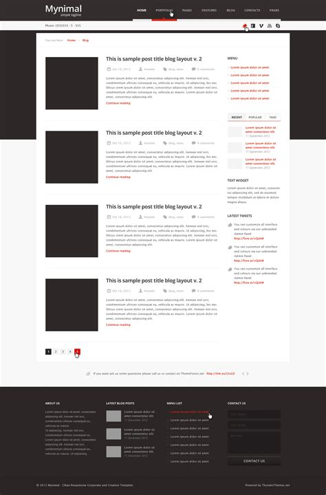 blog layout minimal mynimal clean minimal corporate theme by thunderthemes