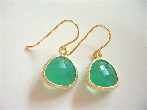 green opal earrings green earrings palace green opal gold trimmed