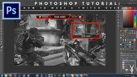 adobe photoshop superimpose tutorial adobe photoshop tutorial how to make a twitch overlay by