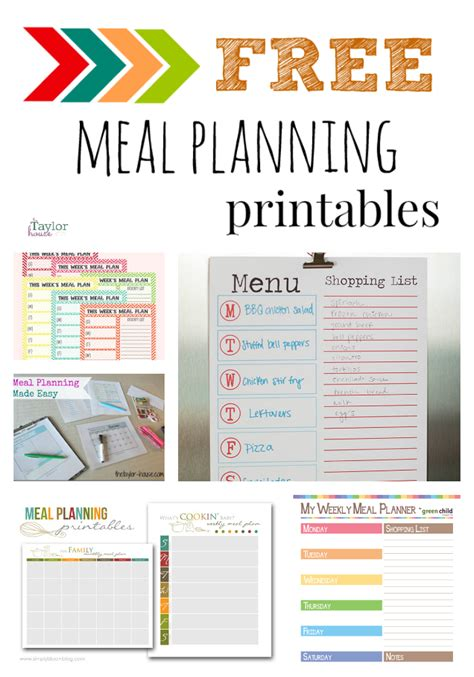 printable meal planning ideas five fabulous free meal plan printables the taylor house